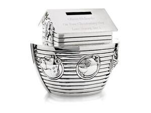 Personalised Noahs Ark Money Box, Christening or Birth Gift Engraved