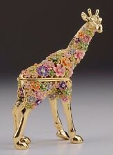 Flower Giraffe Faberge trinket box hand made by Keren Kopal w/ Austrian crystal