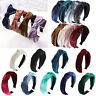 Women Vintage Rivet Velvet Knot Hairband Big Hair Hoop Accessories Party Wedding
