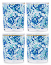 Set of 4 Lilly Pulitzer ��� Turtley Awesome Acrylic Lo-Ball poolside Blue Glasses