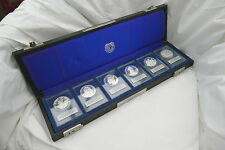 More details for rare cased set of 6 .999 fine silver 19th to 24th bcs commemorative medals