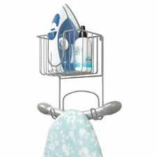 mDesign Metal Wall Mount Ironing Board Holder with Small Storage Basket - Gray