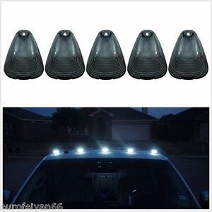 5 Pcs 12V Smoked Lens White LED Vehicle Truck Top Roof Cab Marker Running Light