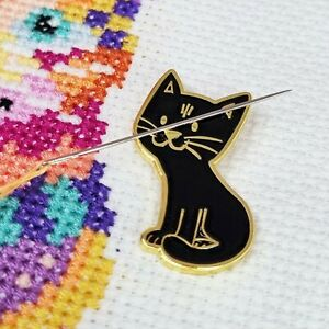 Cat Needle Minder, Enamel Needle Minder, Cat Magnet by Meloca Designs