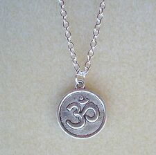 Ohm Aum Om Pendant Chain Necklace - Hindu Buddhist Prayer Yoga Meditation