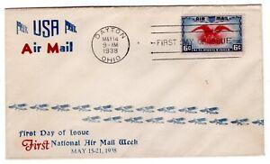 C23 Eagle & Shield 6c Airmail FDC 1938 -  Planty #71C