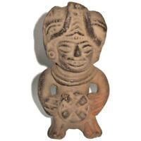 """Mexican Folk Art Clay Black Terracotta Pottery Aztec Maya, Warrior Vase, 6"""""""