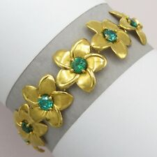 Vtg 10k Yellow Gold Chased Flower Natural Green Tourmaline 9gram Bracelet