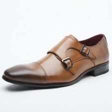 Men Monk Strap Shoes Pointed Toe Dress Shoes Faux Leather Double Buckle Brogues