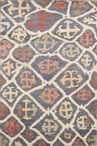 Vegetable Dye Modern Oushak Geometric Oriental Area Rug Hand-knotted Wool 5'x7'
