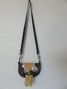 Handmade Western Shoulder Bag Fringe Flap Brown Leather Small Handbag