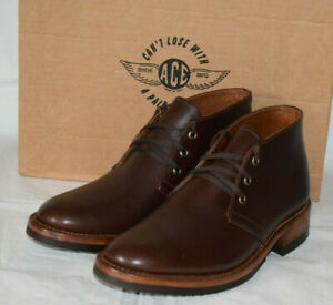 Ace Boot Norton Chukka Brown Leather Shoes UK7 US7.5E Cats Paw Sole Made in USA