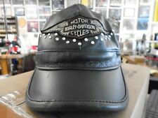 Leather Studded Women's Harley Davidson Cap/ Hat Size Small