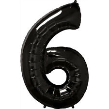 """40"""" Giant Black Six Year Old Baby First Birthday 6 Month Number Float Balloon"""