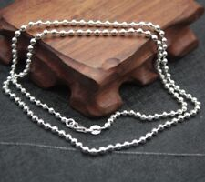 New Fine Pure S925 Silver 3mmW Smooth Bead Link Lucky Chain / 21.6INCH / 12g
