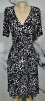 CHAPS Black White Patterned Dress Medium Half Sleeve Attached Ties at Waist