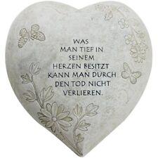 """Deko Herz """"Tief im Herzen"""", in Steinoptik, als Grabschmuck, 20,5 x 20 x 11,5 cm"""