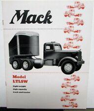 1951 Mack Trucks Model LTLSW Light Weight High Capacity Sales Brochure Orig