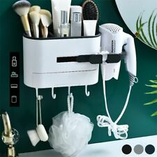 Bathroom Shelf Hair Dryer Rack Wall Mounted Hanging Makeup Cosmetics Storage