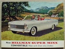 HILLMAN SUPER MINX CONVERTIBLE USA Market Car Sales Brochure 1962 #2622/EX/USA