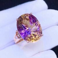 Natural Ametrine Quartz 925 Sliver Sterling Plated Rose Gold Ring Women Gift