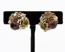 Signed Miriam Haskell Costume Earrings Purple Green Rhinestones Faux Pearl Beads