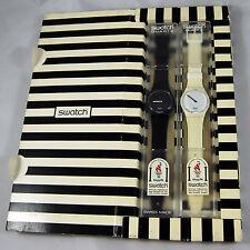 swatch special vintage white hours & black minutes gzs10 orologio raro anni90