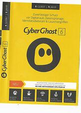 CyberGhost 6*Cyberghost 2018*Premium*VPN*1 Jahr *Key*Anonym surfen*1 PC