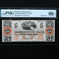 $5 1850s - 60s Maryland, Hagerstown. PMG 66 EPQ, Remainder Obsolete Banknote