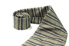 KRIZIA UOMO Vintage 100% Silk Knitted Tie Brown Black Navy Striped Tie Career