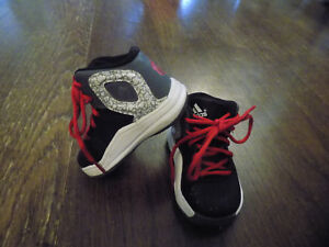 ADIDAS High Top Red tie Toddler Baby Sz 4 Shoes Black Grey EUC Very Clean CUTE!