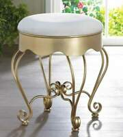 Gold Iron White Color Cushioned Sturdy Vanity Seat Bench Stool Chair Modern Deco