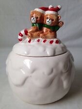 Bears On Sled Snowball Treat Jar For Christmas Cookies