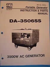 MQ  Power Portable Generator DA-3506SS Instruction&PartsManual 3500W AC Generato