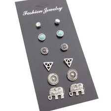 Crystal Rhinestone Earrings Ear Stud Wws 6 Pairs/Set Women Retro Elephant Tri