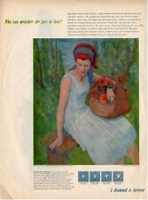 """1958 DeBeers PRINT AD """"Springtime of love"""" image by James Zeller great campaign"""