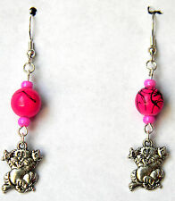 Pink Pussy Cat Earrings By S Violet  Tibetan Silver Free Shipping