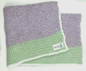 Baby Toddler Peanuts Project Linus Hand Crafted Crochet Lavender, Green Blanket