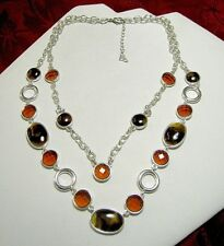 PRETTY SILVER PLATED SIMULATED AMBER BROWN GEM ROUND LINK DOUBLE LAYER NECKLACE