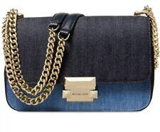 New NWT MICHAEL Kors sloan denim chain small shoulder bag gold push lock