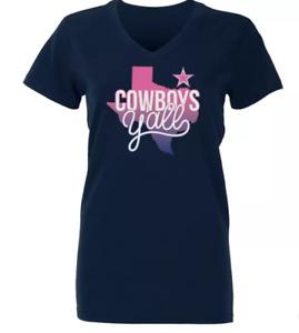 NFL Dallas Cowboys Girls' Basic V-Neck Jessica T-Shirt - Dark Blue - XL - C351
