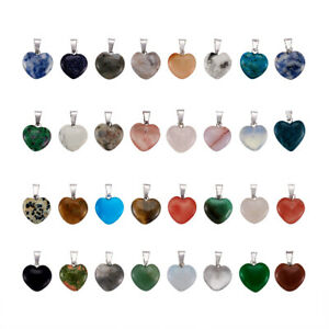 50 Pcs Platinum Tone Brass Findings Heart Gemstone Pendants 17~19x15~16x5~6mm