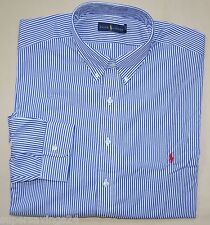 New XL POLO RALPH LAUREN Mens button down dress shirt blue stripes red pony 17.5