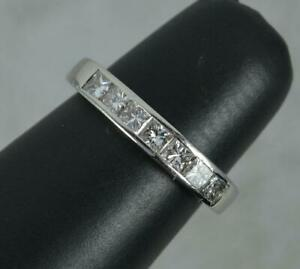 Quality Platinum & 0.85ct Vs Diamond Half Eternity Stack Band Ring