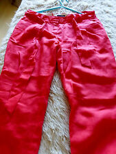 Bright pinky red linen mix ankle length trousers by Next - 12.  VGC.