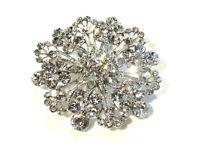 Bijou alliage argenté broche pendentif rosace cristal blanc  brooch