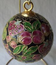 """Gorgeous Genuine Chinese Cloisonne Large Round Ball Ornament 3"""" Diam."""
