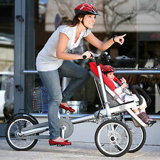 Red Mom & Baby Parents Child Two-Way Bicycle Baby Seat Folding Bike Stroller
