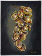 Grapes, Fruits, Berries, Black, Yellow, Acrylic Original Painting Art, artist
