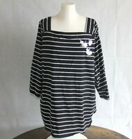 Ava & Viv Womens Plus 3X Top Knit Tee 3/4 Sleeve Fitted Stretch Back T-Shirt F29